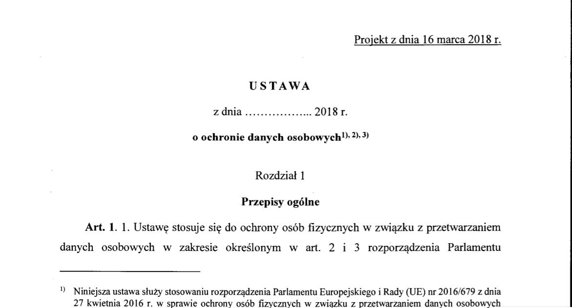 49d937344b0ed6 Najnowszy projekt ustawy o ochronie danych osobowych z dnia 16.03.2018 r. -  Daneos